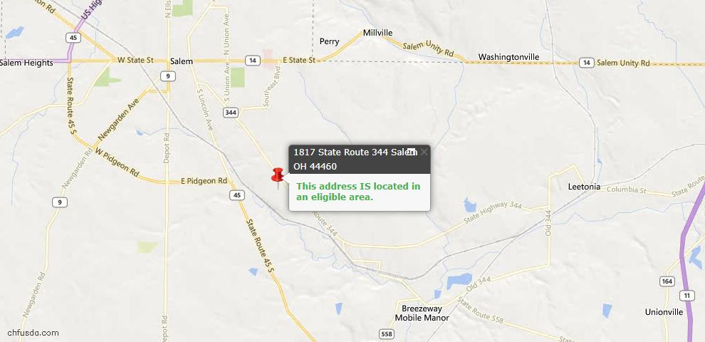 USDA Loan Eligiblity Map - 1817 State Route 344, Salem, OH 44460