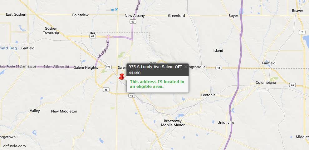 USDA Loan Eligiblity Map - 975 S Lundy Ave, Salem, OH 44460