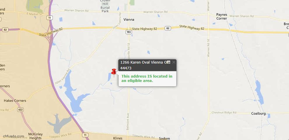 USDA Loan Eligiblity Maps From - Vienna, OH