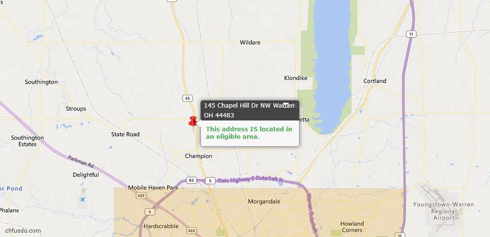 USDA Loan Eligiblity Map - 145 Chapel Hill Dr NW, Warren, OH 44483