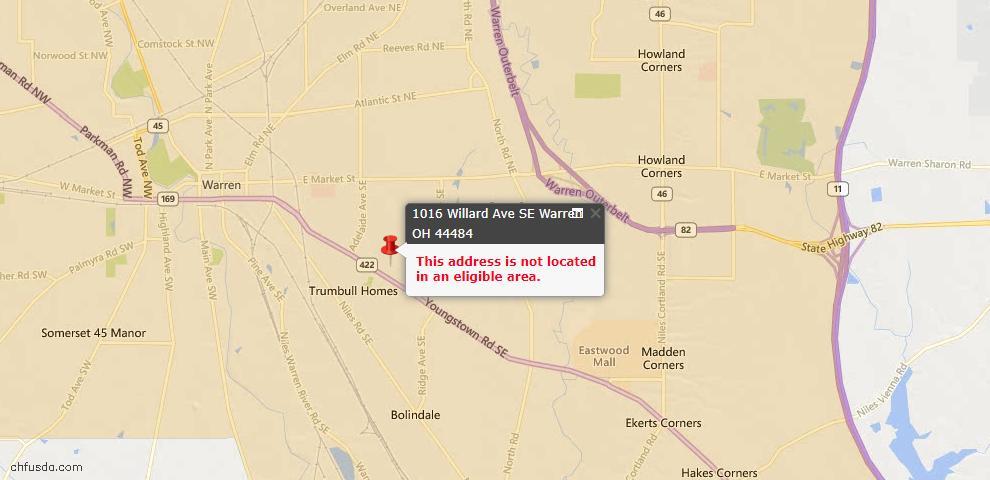USDA Loan Eligiblity Map - 1016 Willard Ave SE, Warren, OH 44484