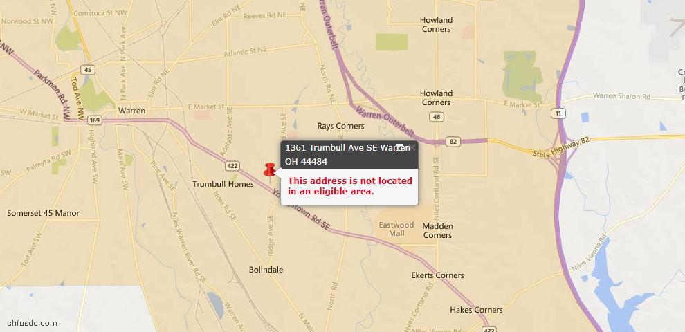 USDA Loan Eligiblity Map - 1361 Trumbull Ave SE, Warren, OH 44484