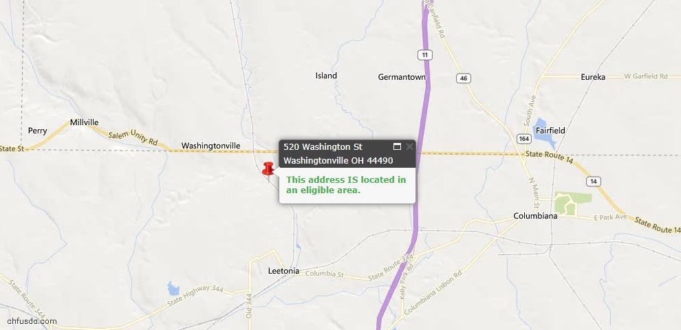 USDA Loan Eligiblity Maps From - Washingtonville, OH