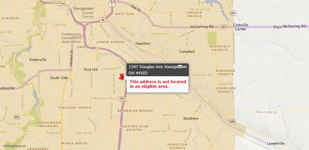 USDA Loan Eligiblity Map - 1347 Douglas Ave, Youngstown, OH 44502