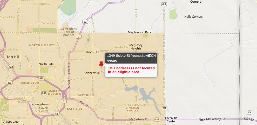 USDA Loan Eligiblity Map - 1349 Scioto St, Youngstown, OH 44505