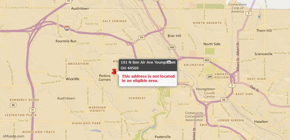 USDA Loan Eligiblity Maps From - 44509, OH
