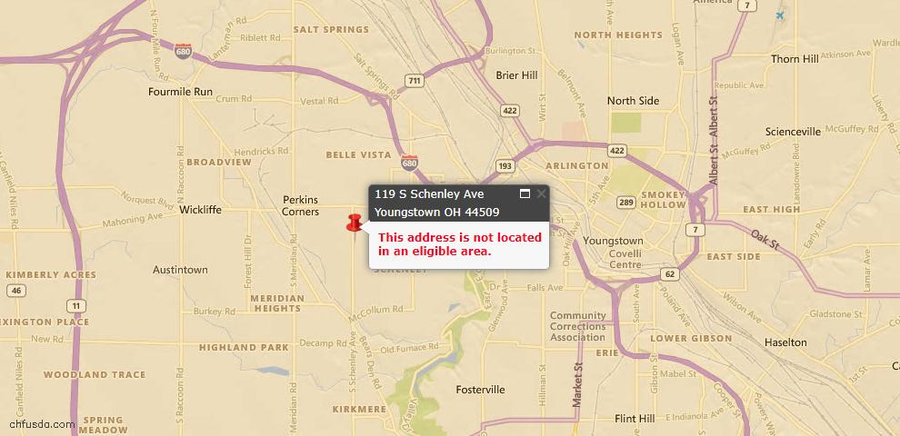 USDA Loan Eligiblity Map - 119 S Schenley, Youngstown, OH 44509