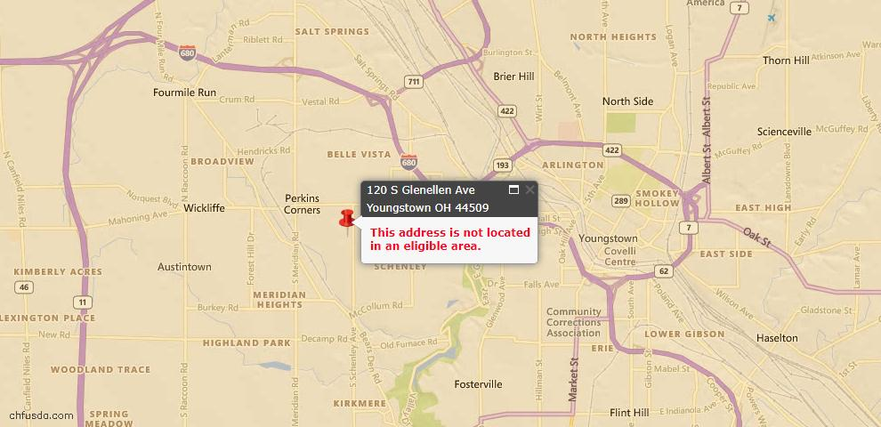 USDA Loan Eligiblity Map - 120 S Glenellen Ave, Youngstown, OH 44509