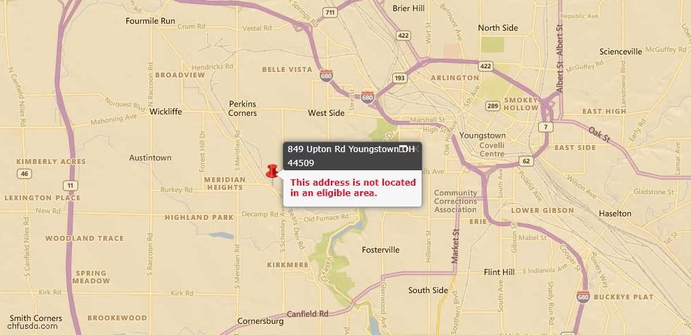 USDA Loan Eligiblity Map - 849 Upton Rd, Youngstown, OH 44509