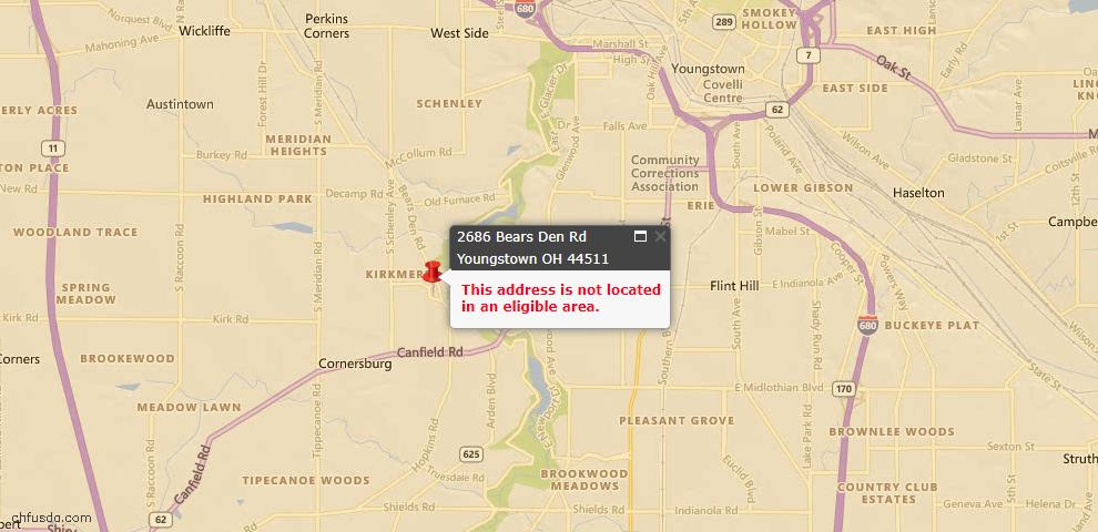 USDA Loan Eligiblity Maps From - 44511, OH