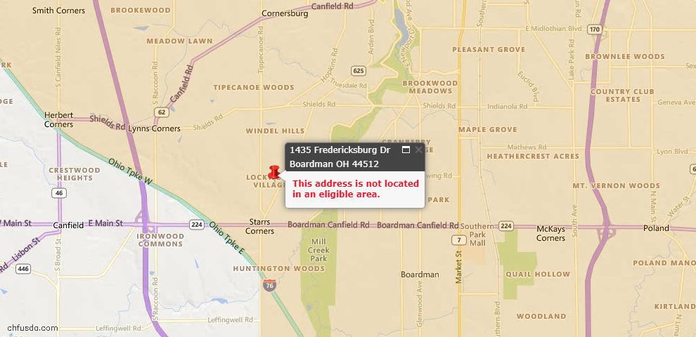 USDA Loan Eligiblity Maps From - Boardman, OH