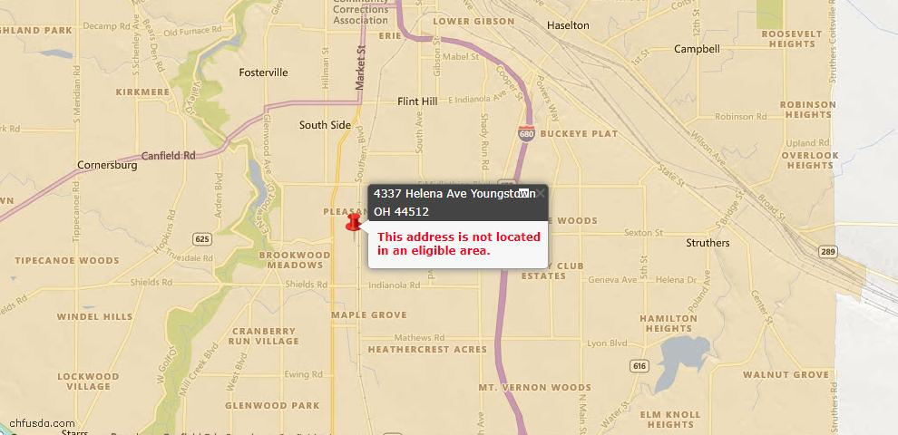 USDA Loan Eligiblity Map - 4337 Helena Ave, Youngstown, OH 44512