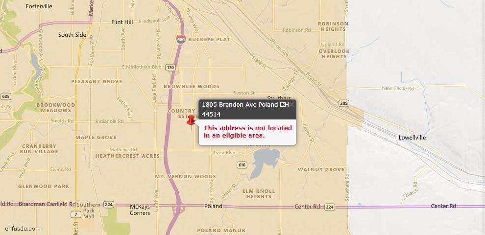USDA Loan Eligiblity Map - 1805 Brandon Ave, Poland, OH 44514