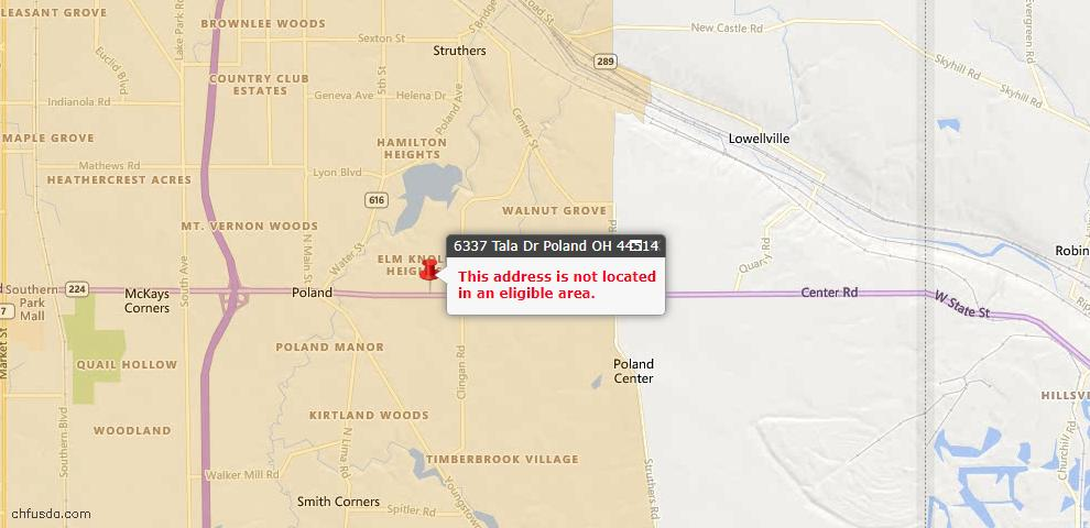 USDA Loan Eligiblity Map - 6337 Tala Dr, Poland, OH 44514