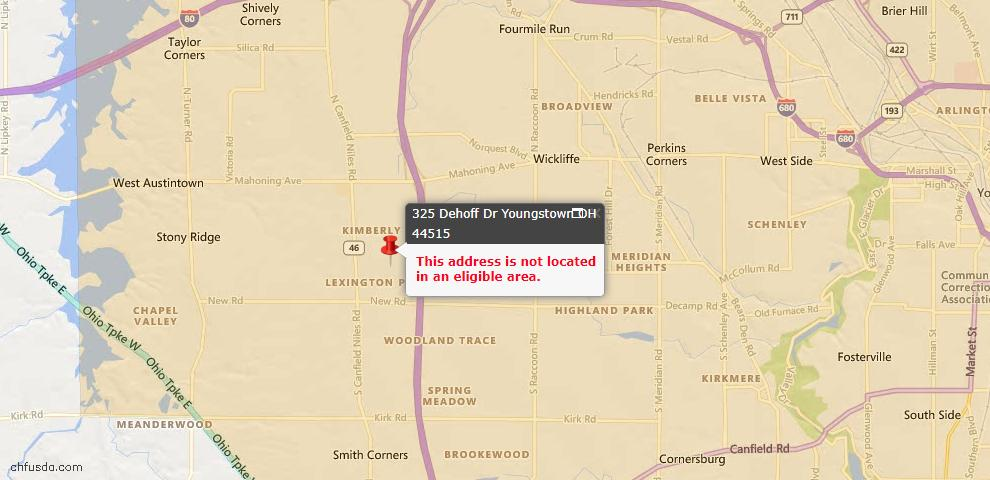 USDA Loan Eligiblity Map - 325 Dehoff Dr, Youngstown, OH 44515