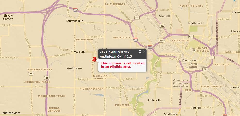 USDA Loan Eligiblity Map - 3851 Huntmere Ave, Austintown, OH 44515