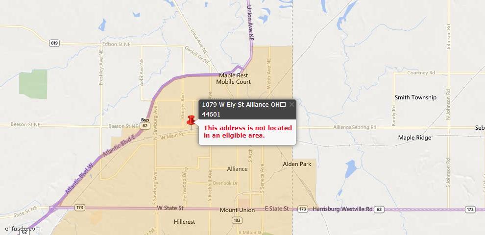 USDA Loan Eligiblity Map - 1079 W Ely St, Alliance, OH 44601