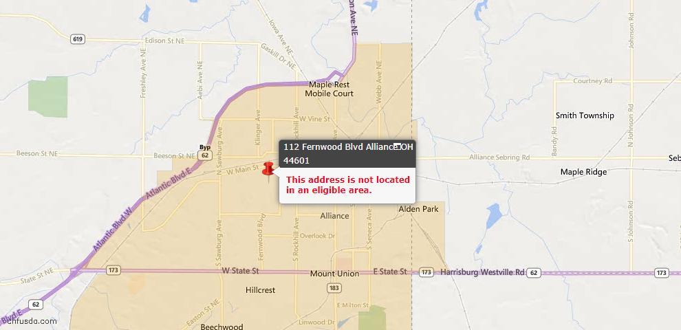 USDA Loan Eligiblity Map - 112 Fernwood Blvd, Alliance, OH 44601