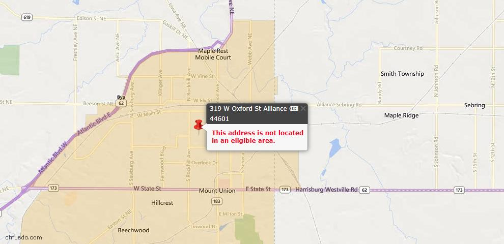 USDA Loan Eligiblity Maps From - Alliance, OH