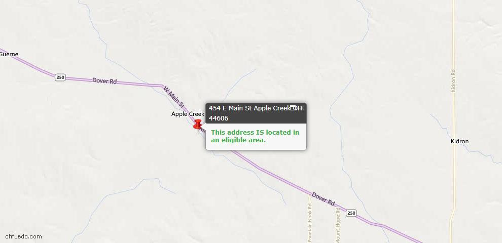 USDA Loan Eligiblity Maps From - Apple Creek, OH