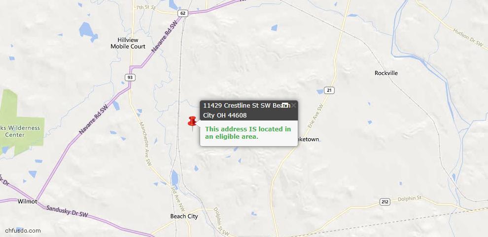 USDA Loan Eligiblity Maps From - Beach City, OH