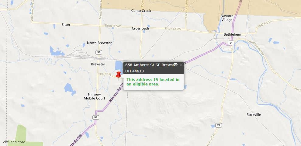 USDA Loan Eligiblity Maps From - Brewster, OH