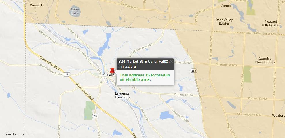 USDA Loan Eligiblity Maps From - Canal Fulton, OH
