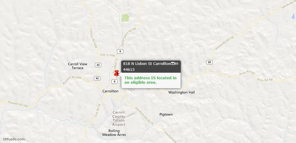 USDA Loan Eligiblity Maps From - Carrollton, OH