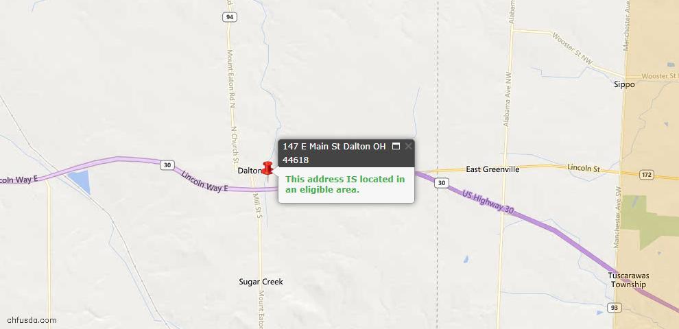 USDA Loan Eligiblity Maps From - Dalton, OH