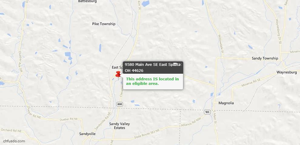 USDA Loan Eligiblity Maps From - East Sparta, OH