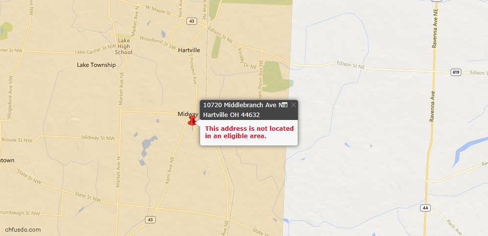 USDA Loan Eligiblity Maps From - Hartville, OH