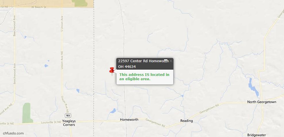 USDA Loan Eligiblity Maps From - Homeworth, OH