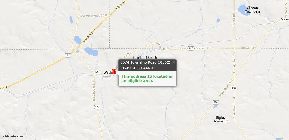 USDA Loan Eligiblity Maps From - Lakeville, OH