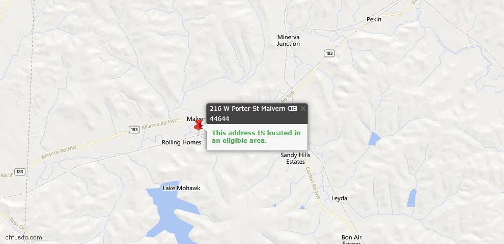 USDA Loan Eligiblity Maps From - Malvern, OH