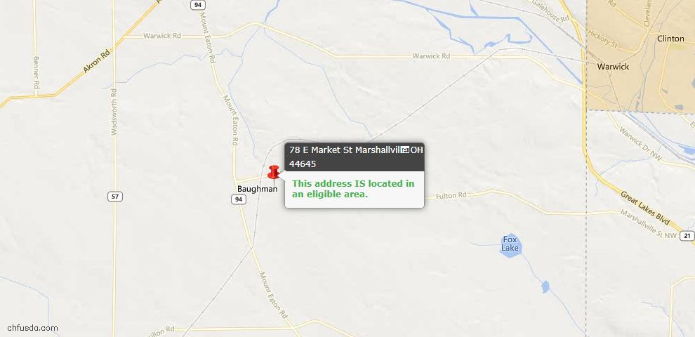 USDA Loan Eligiblity Maps From - Marshallville, OH
