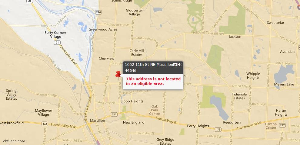 USDA Loan Eligiblity Map - 1652 11th St NE, Massillon, OH 44646