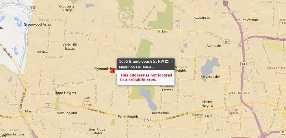 USDA Loan Eligiblity Map - 1655 Bramblebush St NW, Massillon, OH 44646