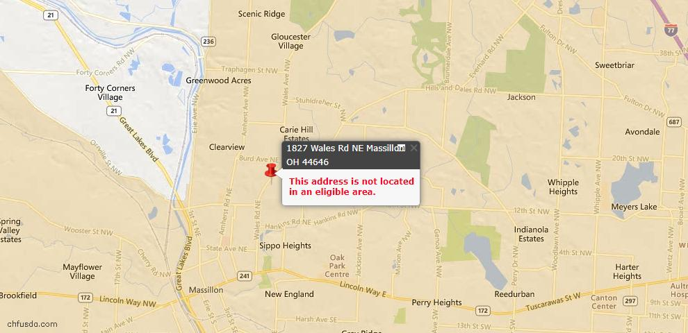 USDA Loan Eligiblity Map - 1827 Wales Rd NE, Massillon, OH 44646