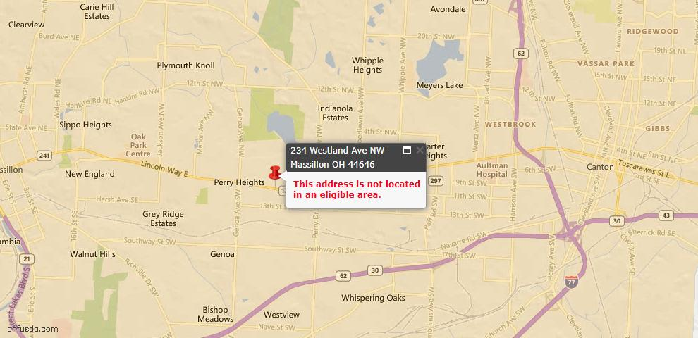 USDA Loan Eligiblity Maps From - Massillon, OH