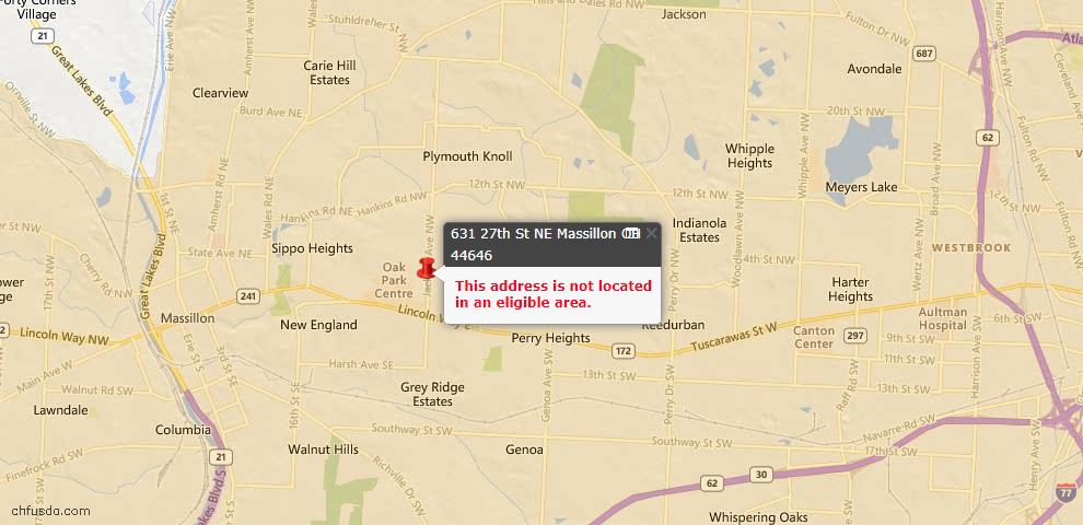 USDA Loan Eligiblity Maps From - 44646, OH