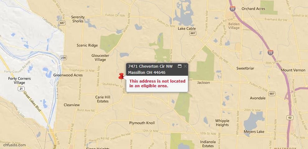 USDA Loan Eligiblity Map - 7471 Cheverton Cir NW, Massillon, OH 44646