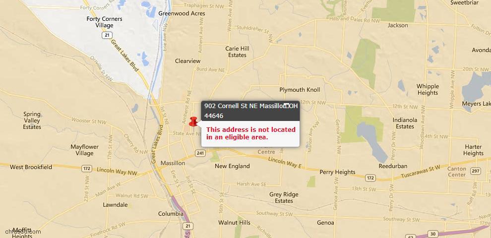 USDA Loan Eligiblity Map - 902 Cornell St NE, Massillon, OH 44646