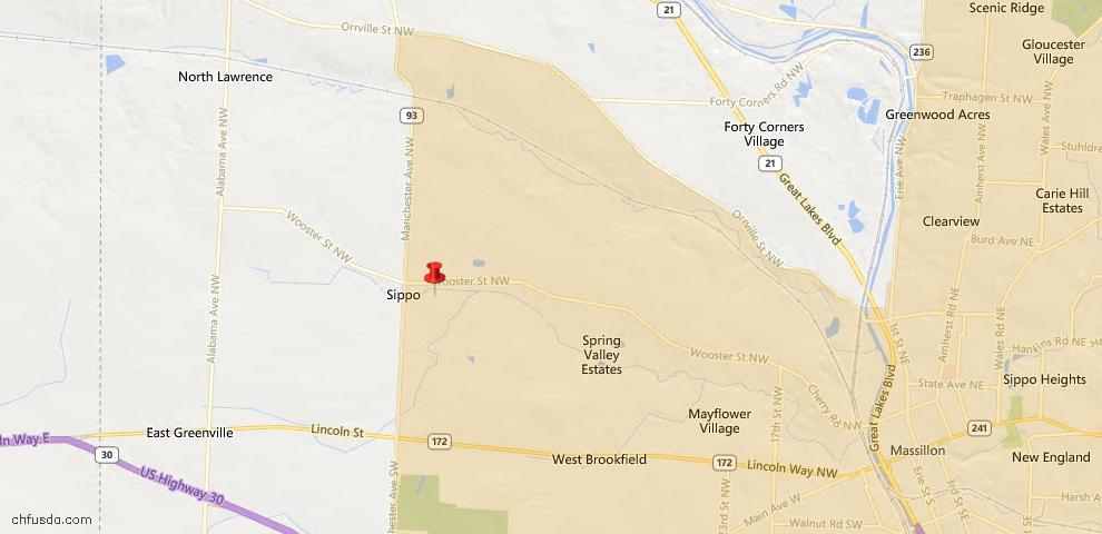 USDA Loan Eligiblity Map - 12975 Wooster St NW, Massillon, OH 44647
