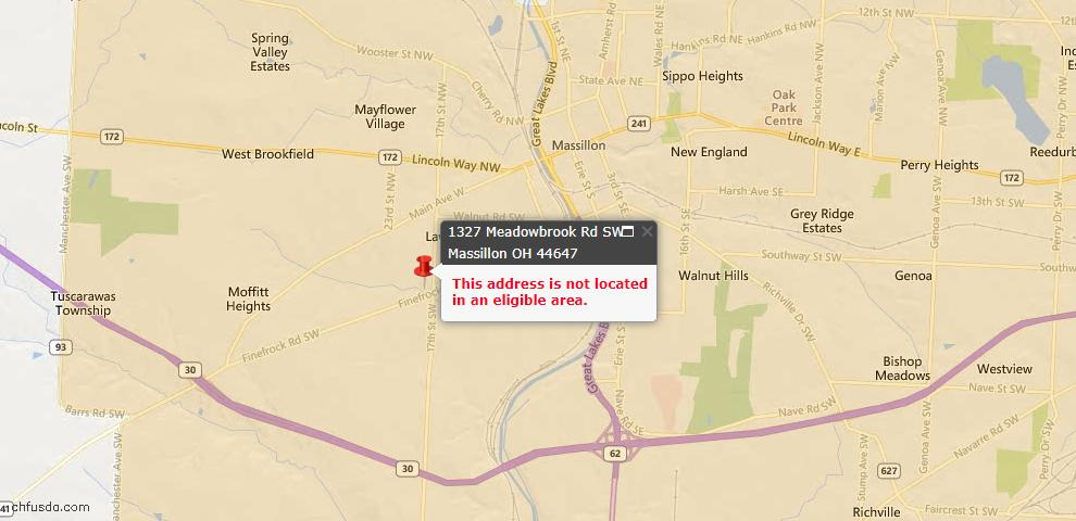 USDA Loan Eligiblity Map - 1327 Meadowbrook Rd SW, Massillon, OH 44647