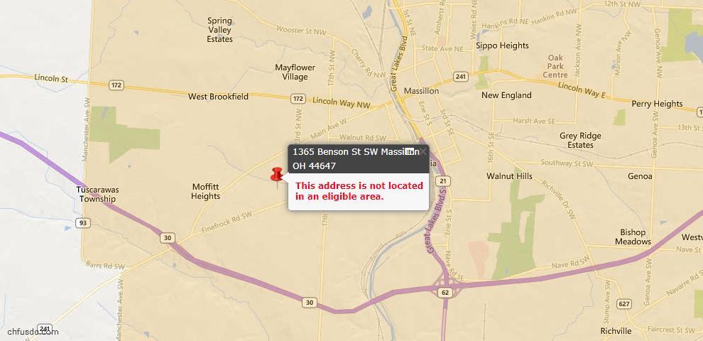 USDA Loan Eligiblity Map - 1365 Benson St SW, Massillon, OH 44647