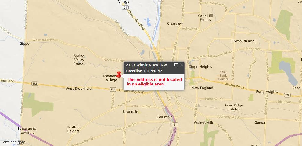 USDA Loan Eligiblity Map - 2133 Winslow Ave NW, Massillon, OH 44647