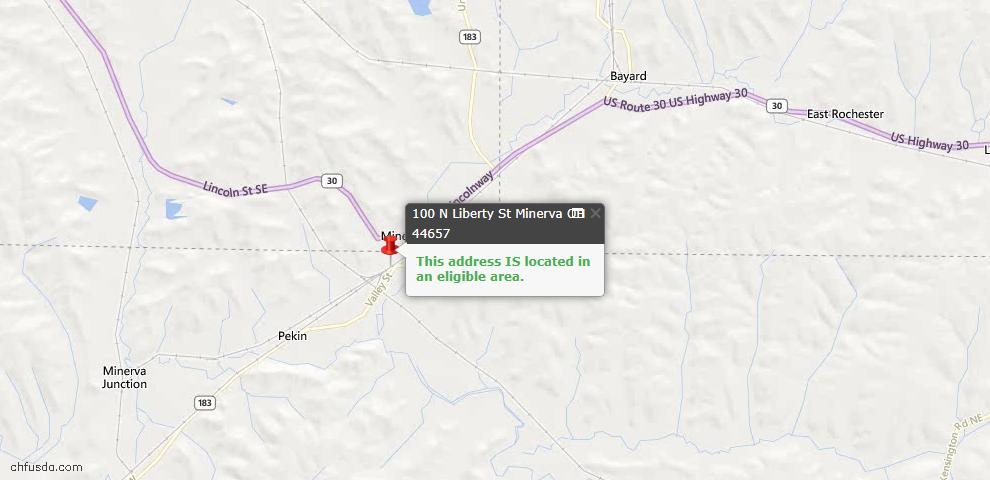 USDA Loan Eligiblity Maps From - Minerva, OH