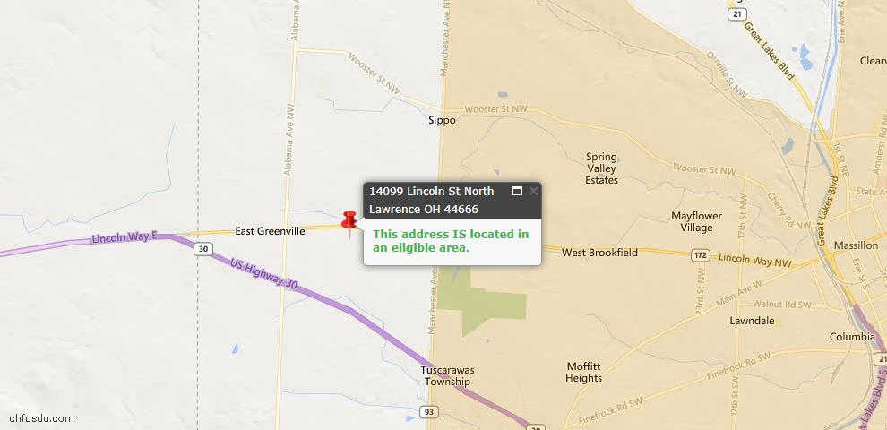 USDA Loan Eligiblity Maps From - North Lawrence, OH
