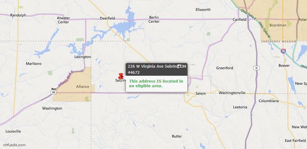 USDA Loan Eligiblity Map - 226 W Virginia Ave, Sebring, OH 44672