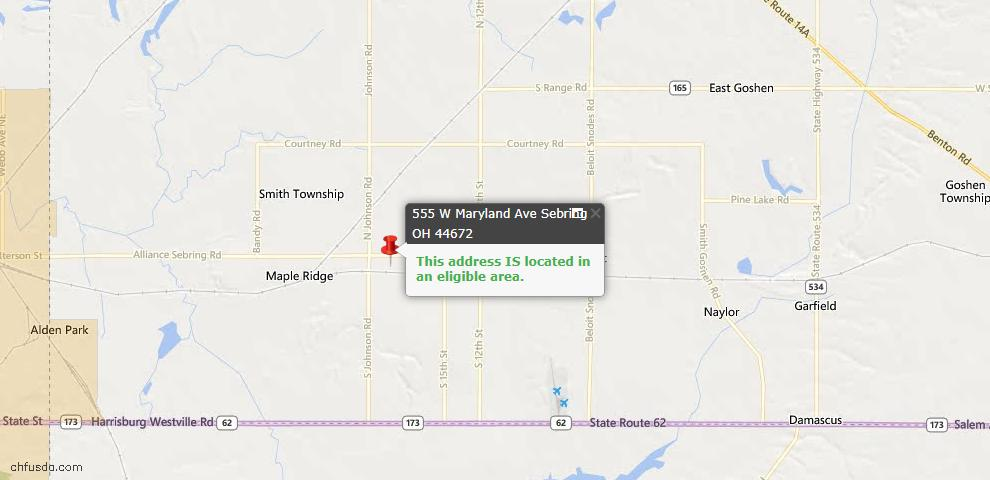 USDA Loan Eligiblity Maps From - Sebring, OH
